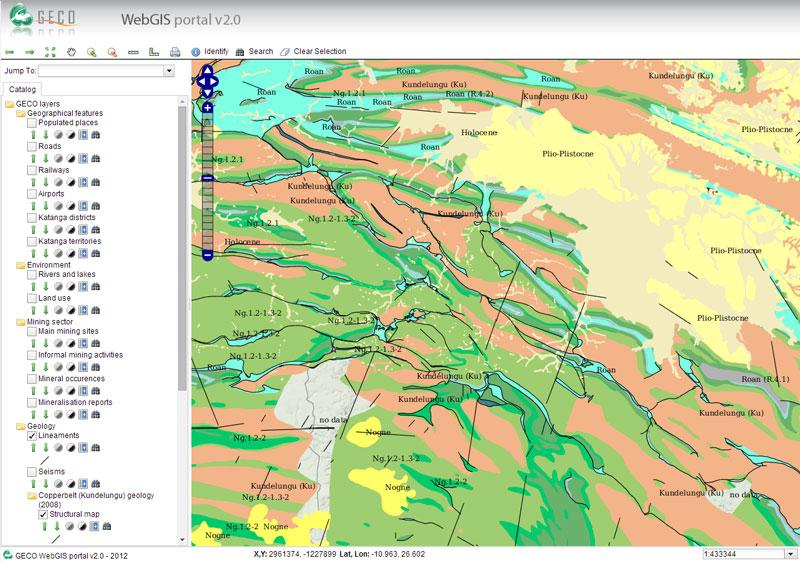 Snapshot of the webGIS platform