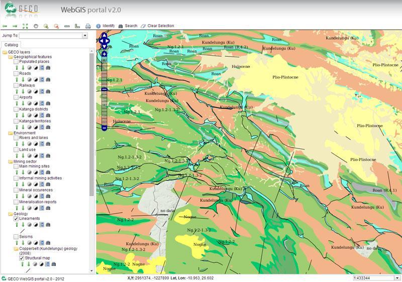 Screenshot van het geomatisch internetportaal