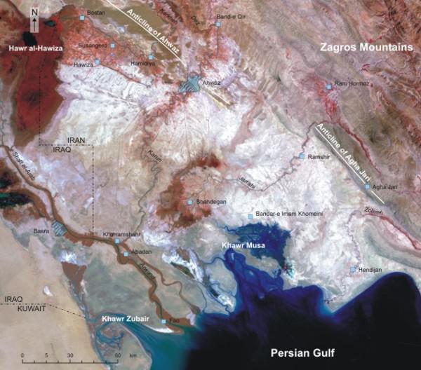 De lokalisatiekaart van laag-Khuzestan