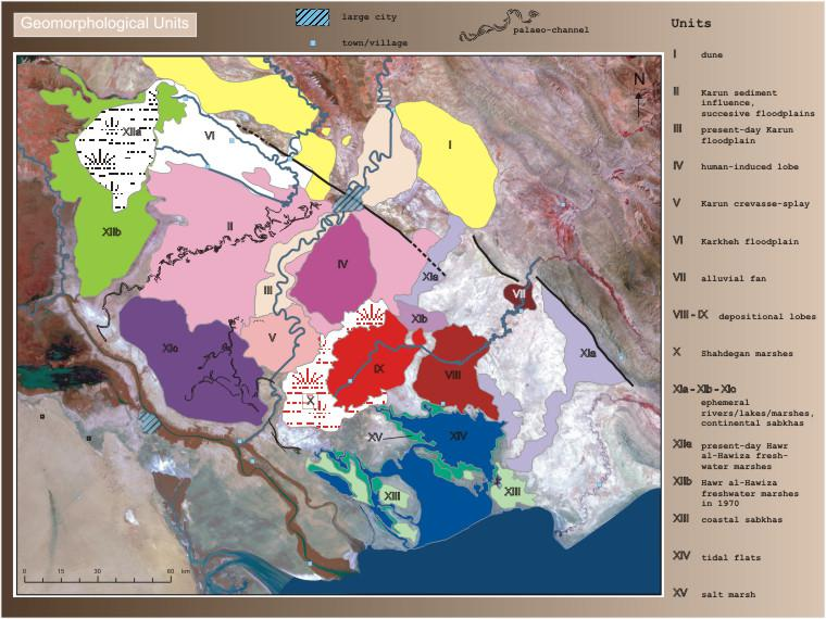 Main geomorphological units reconstruction