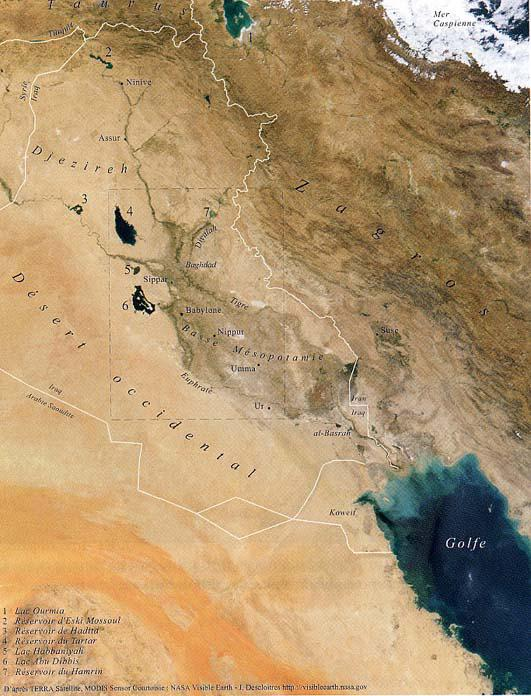 Geographical location of the study area (satellite image 27/08/2001 NASA)