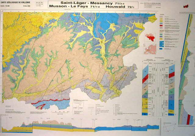 Geological map of Saint-Léger-Messancy (71/3-4), Musson (71/3-4), Le Fays (71/7-8), Houwald (72/1)