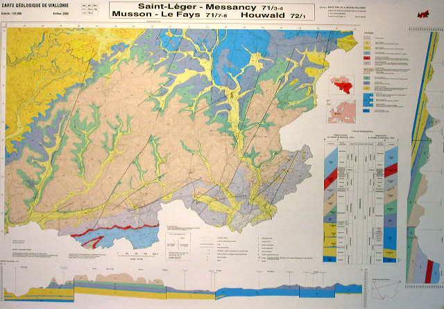 Carte géologique  Saint-Léger-Messancy (71/3-4), Musson (71/3-4), Le Fays (71/7-8), Houwald (72/1)