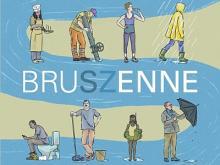 Visuel de l'expo BruSZenne : différentes utilisations de l'eau par les humains représentées le long d'un cours d'eau qui serpente de haut en bas (Image : Claude Desmedt, IRSNB)