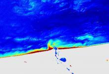 Satellietbeeld van algenbloei voor de Belgische kust