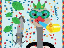 Visueel van het parcours Carnaval der Dieren: een gemaskerde struisvogel blaast op een mirliton.