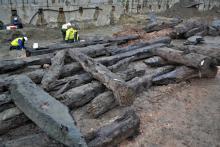 Les poutres du quai du port du XVe siècle sur le site archéologique de l'ancien Parking 58 à Bruxelles (photo : Siska Van Parys, IRSNB)
