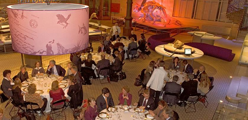 A luxury gala dinner in the Dinosaur Gallery