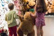 children in front of a wall of teddy bears © KBIN / IRSNB / RBINS