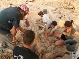 Palaeontologists and volunteers during the 'paleotrip' in Velaux (South of France) in 2012 (photo: Thierry Hubin, RBINS)