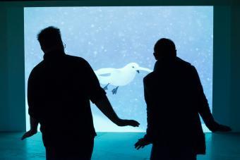 Quand deux manchots visitent l'expo - Twee pinguïns op bezoek